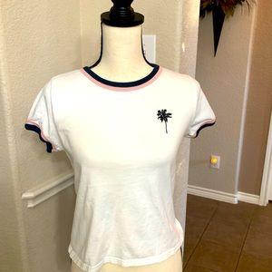 Forever 21 white T-shirt w/ navy palm tree logo